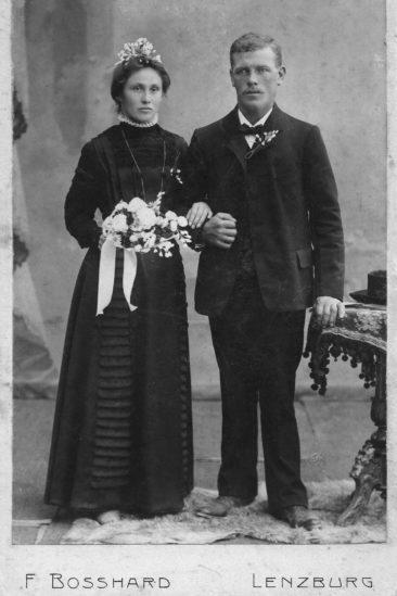 Brautpaar Fritz & Anna Hulda Kull-Richner 1910