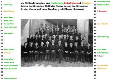 Jg 33 die lezten Niederlenzer die noch auf dem Staufberg vom Pfr. Schenkel kofermiert worden sind
