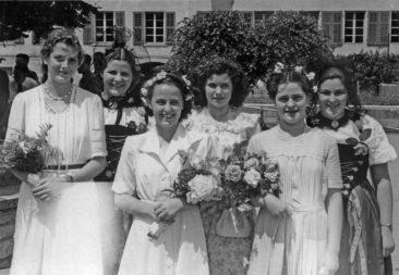 1949 Jg34 (vlnr.) Sonja Wägli, Käti Grimm, Helga Appel, Ruth Urech, Margrit Kull, Heidi Wyser