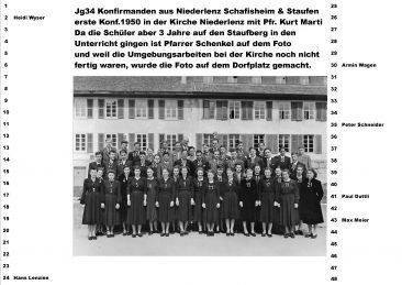 Jg 34 Konfermanden von Niederlenz, Schafisheim und Staufen mit Pfr. Schenkel (erste Konf. 1950 in der Kirche Niederlenz mit Pfr. Kurt Marti)