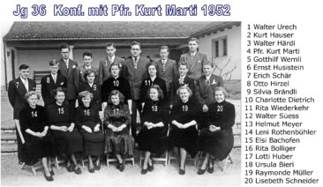 Jg 36 Konf. mit Pfarrer Kurt Marti  1952
