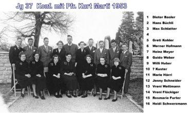 Jg 37 Konf. mit Pfarrer Kurt Marti  1953