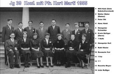 Jg 39 Konf. mit Pfarrer Kurt Marti  1955
