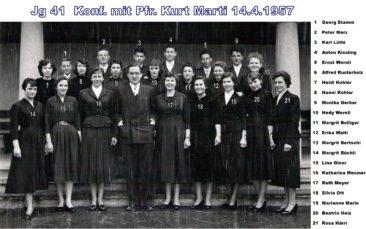Jg 41 Konf. mit Pfarrer Kurt Marti  1957