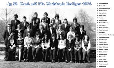 Jg 58 Konf. mit Pfarrer Christoph Hediger  1974