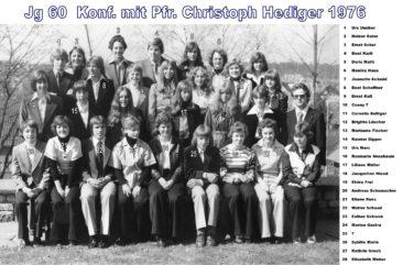 Jg 60 Konf. mit Pfarrer Christoph Hediger  1976