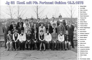 Jg 62 Konf. mit Pfarrer Fortunat Guidon 1978