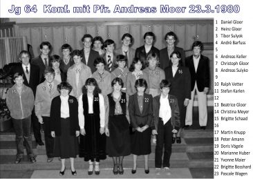 Jg 64 Konf.1 mit Pfarrer Andreas Moor  23.März 1980