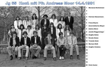 Jg 65 Konf. mit Pfarrer Andreas Moor 14.4.1981