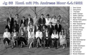 Jg 66 Konf. mit Pfarrer Andreas Moor  4. April 1982
