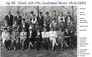 Jg 68 Konf. mit Pfarrer Andreas Moor  15. April 1984