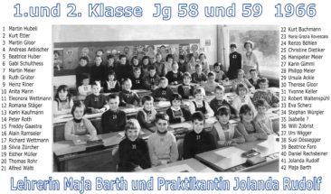 Jg 58+59 1+2.Klasse Lehrerin Maja Barth und Praktikantin Jolanda Rudolf  1966