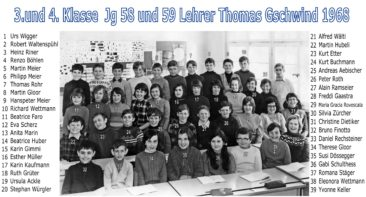 Jg 58+59 3+4.Klasse Lehrer Thomas Gschwind 1968