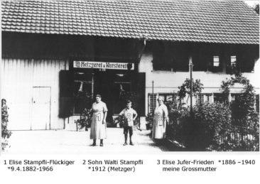 Metzgerei Stampfli an der Hauptstrasse neben der damaligen Post