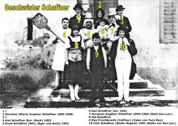 Fam. Schaffner 1922 mit Tante Negerli